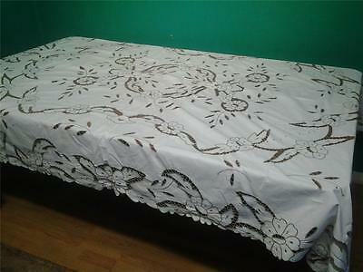 Vintage large cream  cotton tablecloth hand worked cutwork embroidery   7' x 4'6