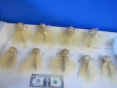 Set of 9 Dainty Angel Xmas Holiday Tree Ornament Modern Abstract Gold Net Fabric