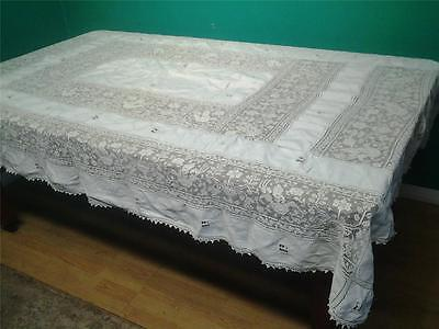 Superb antique tablecloth bed cover throw hand worked ecru lace embroidery 7 x 5