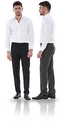 Men's Smart Slim Fit Trousers Work Formal Wool Office Pants