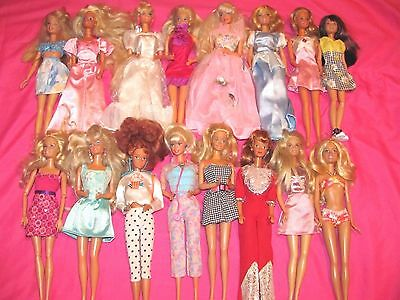 Lot Of 16 Barbie Dolls With Barbie Clothes And Some With Shoes~Some Vintage