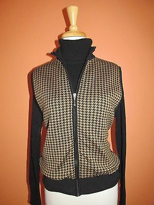 Fairway & Greene Womens Size M Black and Camel Houndstooth Check Zip Golf Vest