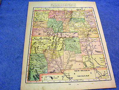 Antique Map Of New Mexico W/ Indian & Military Reserves   Nicely Colored   1901