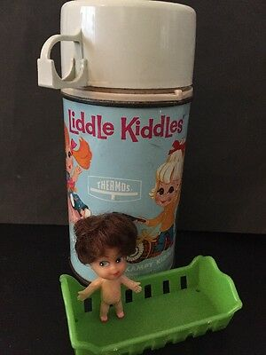 Vintage 1968 Liddle Kiddles Metal Thermos by King-Seeley + Liddle Kiddle & Crib