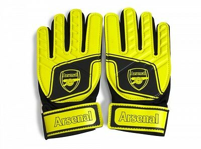 Arsenal FC Goalkeeper Gloves Boys Yellow Black Support Grip Club Crest Official