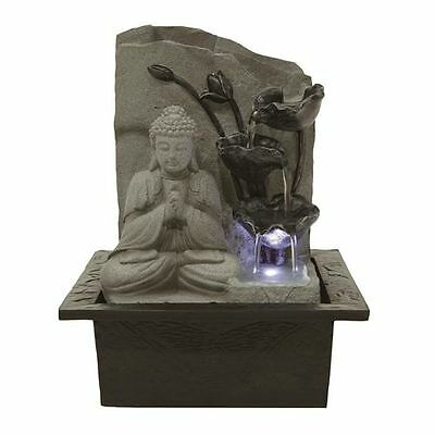 Chianna Tranquil Buddha Lit Tabletop Indoor Water Feature Ideal for Feng Shui