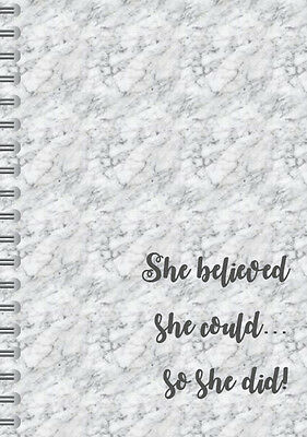Marble Effect Notebook,inspirational quote,A5 spiral,she believed she could