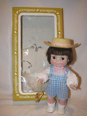 "10"" Vintage Effanbee Half Pint Little Boy Doll In Overalls With Box"