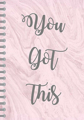 Marble Effect 2017 Diary,inspirational quote,A5 spiral,You got this