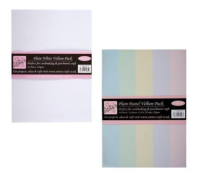 Anita's A4 Parchment Vellum White or Pastels  - Pack of 10