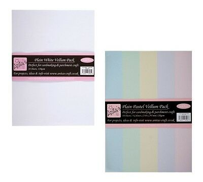 Docrafts Anitas A4 Parchment Vellum 120 gsm - White or Pastels  - Pack of 10
