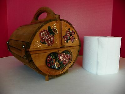 Unique folk art wooden box to hold roll of toilet paper