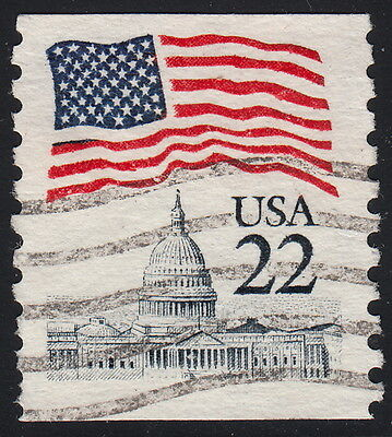 """2115 22c Flag """"Erie Blue"""" used single off paper"""