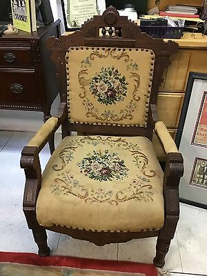Antique Victorian Eastlake Arm Chair Needlepoint Upholstery