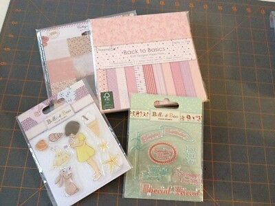 BELLE & BOO Clear Stamps x2 + 6x6 Pretty in Pink Paper Pad + 6x6 Cottage Farms