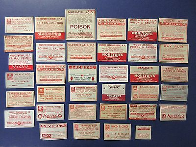 35=Old All Poison  Pharmacy Apothecary Medicine  Bottle Labels= Nice