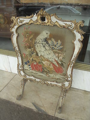 High End Victorian Gesso Moulded & Gilt Fire Screen With Tapestry