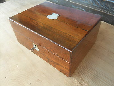 Small Victorian Antique Rosewood Box With Mother Of Pearl Inlay ( Lockable )