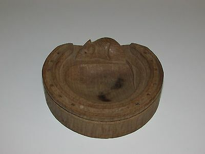 Robert 'Mouseman' Thompson Carved Oak Horseshoe Shaped Ashtray/ Pin Dish