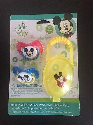 Disney Baby Mickey Mouse 2-pack BPA free Silicone Pacifiers and  Case- NEW
