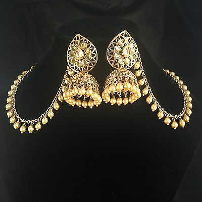 Golden Earrings Jhumka with sahara Bollywood traditional Style JS5-492G/LCT
