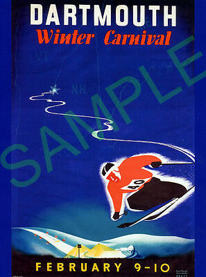 Dartmouth Winter Carnival poster showing USA Skiing