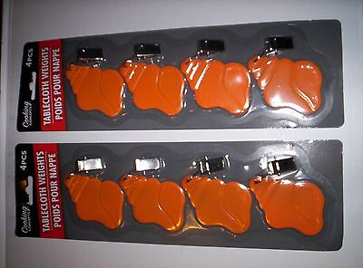 8  Orange Color Shell Shaped~~ Tablecloth Weights ~Lot Of 2 Packs Of 4