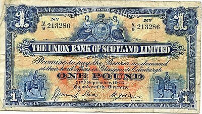 UNION BANK OF SCOTLAND SCOTTISH £1 BANKNOTE . Dated 29th September 1945