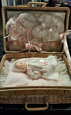 Vintage Effanbee Baby Lisa Doll by Astri 1980 11 inch w/Complete Wicker Layette