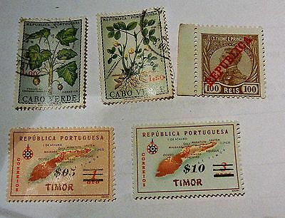 Job Lot Collection Vintage Old Cabo Verde Timor S. Thome E Principe Stamps
