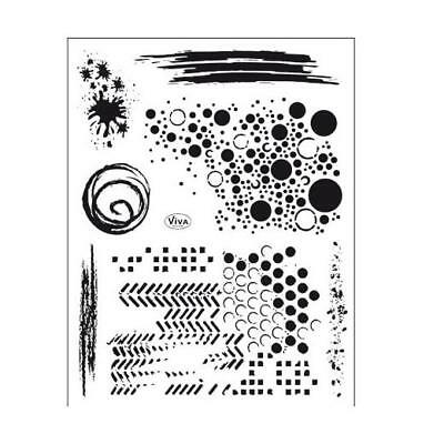 Viva Decor A5 Clear Silicone Stamps Set - Grunge Backgrounds #158