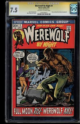 Werewolf By Night #1 Cgc 7.5 Oww  Ss Stan Lee Signed Cgc #1197183011