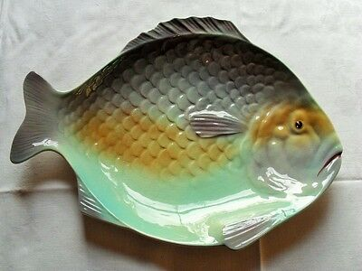 Large Shorter Serving Fish Plate In Green/blue