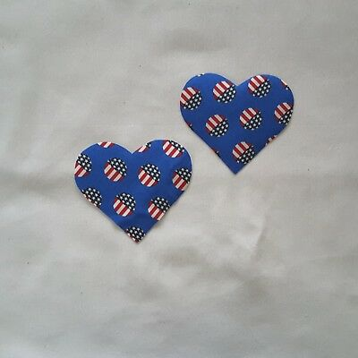 2Pcs USA Flag Polka Dots Heart Elbow Patche DIY Iron-on Cardigan Patch Kids Oval