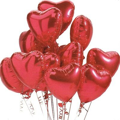 "12 X RED 18"" Love HEART Shape Foil Helium BALLOONS VALENTINES DAY GIFT Dozen"
