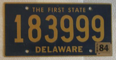 DELAWARE The First State license plate  1984  183999