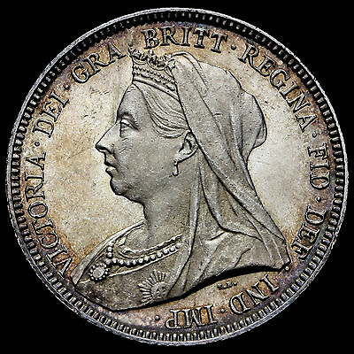 1893 Queen Victoria Veiled Head Silver Shilling, Choice Uncirculated