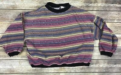 VTG BUM Equipment Women's Sweatshirt Tribal Print Striped Size M Oversized B4