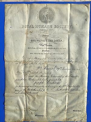 1872 Royal Humane Society Testimonial on Parchment awarded by Queen of England