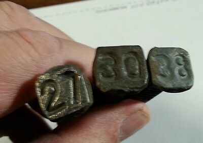 Lot Of 3 Square Antique Vintage Indented Number Railroad Nails 27, 30 And 38