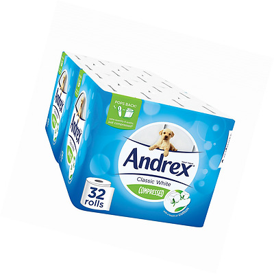 Andrex Classic White Compressed Toilet Roll Tissue Paper - 32 Rolls