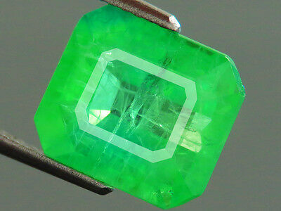 7.70ct Lab-created COLUMBIAN EMERALD CHATHUM OCTAGON INDUCED INCLUSION 9.7x11 MM