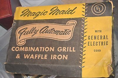 Vtg 1950s MAGIC MADECombo Sandwich Grill Waffle Iron Maker GE Complete