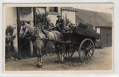 Picture postcard of a man with a horse and cart possibly Eaglesham (C24051)