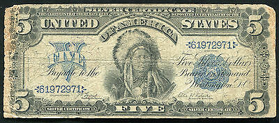 "Fr. 271 1899 $5 Five Dollars ""Chief"" Silver Certificate Currency Note"
