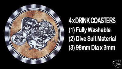 4 x BMW BOXER ENGINES R65, MOTORCYCLE MOTOR CYCLE DRINK COASTERS - Re-usable