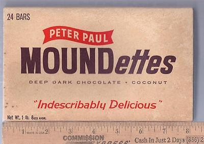 1950s CANDY BAR BOX STORE DISPLAY Peter Paul MOUNDETTES 24 - 1 oz BARS  Empty