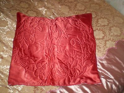 Vintage Beautiful Embroidered RED SATIN Pillowcase