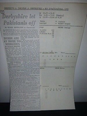 A Collection Of 1970,s Cricket Scorecards With Attached Newspaper Reports