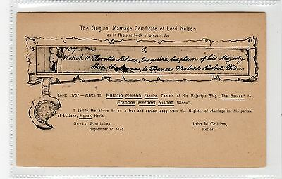 THE ORIGINAL MARRIAGE CERTIFICATE OF LORD NELSON: Nevis postcard (C24528)